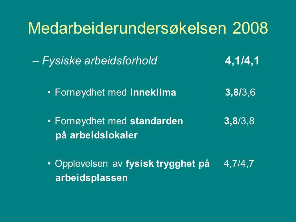 Medarbeiderundersøkelsen 2008 –Fysiske arbeidsforhold4,1/4,1 Fornøydhet med inneklima3,8/3,6 Fornøydhet med standarden 3,8/3,8 på arbeidslokaler Opplevelsen av fysisk trygghet på 4,7/4,7 arbeidsplassen