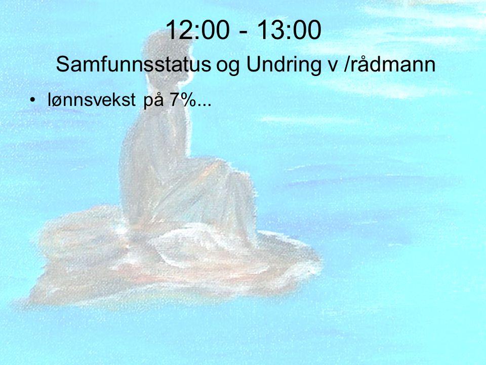 12:00 - 13:00 Samfunnsstatus og Undring v /rådmann lønnsvekst på 7%...