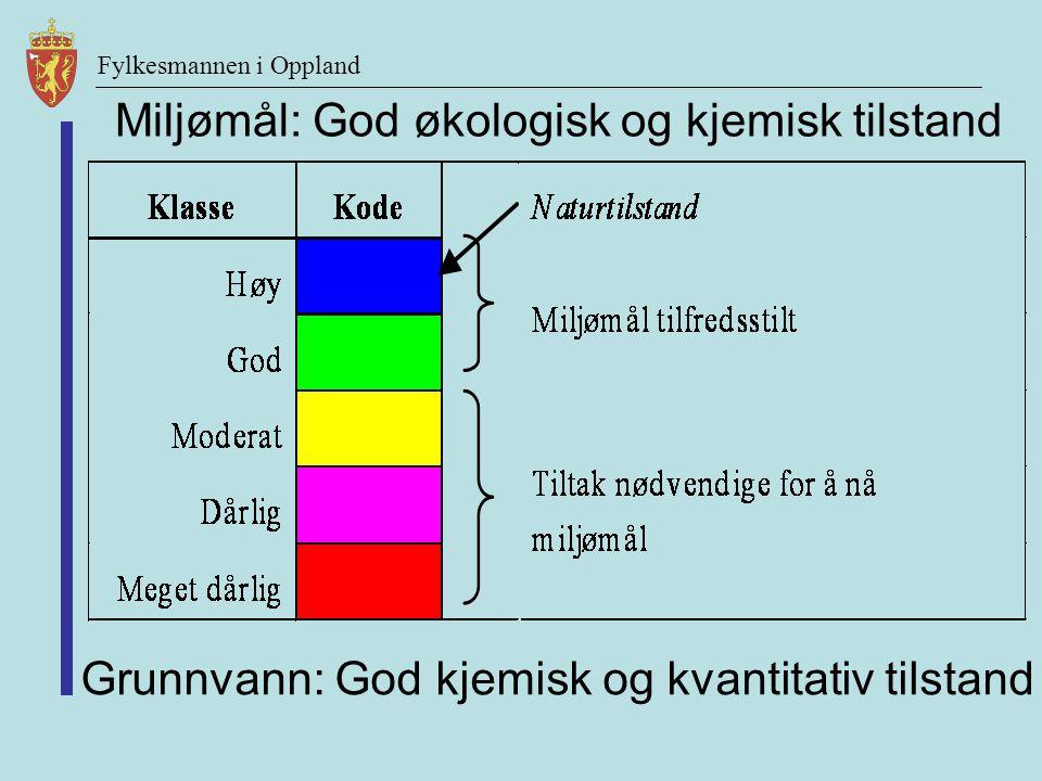 Miljømål: God økologisk og kjemisk tilstand Grunnvann: God kjemisk og kvantitativ tilstand