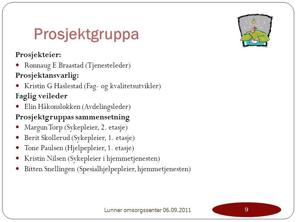 Prosjektgruppa Prosjekteier: Rønnaug E Braastad (Tjenesteleder) Prosjektansvarlig: Kristin G Haslestad (Fag- og kvalitetsutvikler) Faglig veileder Eli