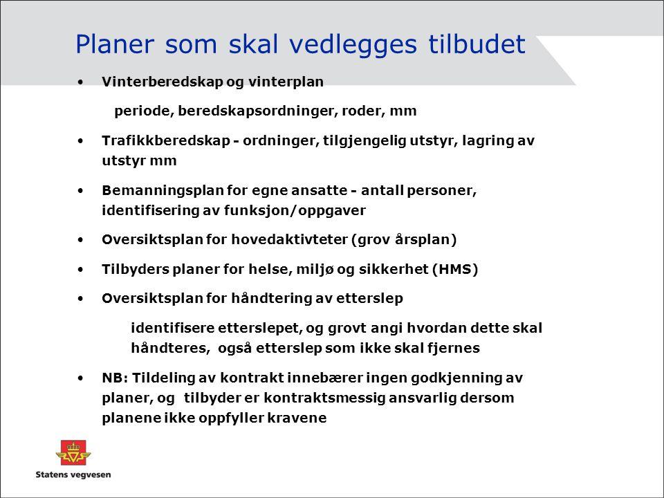 Planer som skal vedlegges tilbudet Vinterberedskap og vinterplan periode, beredskapsordninger, roder, mm Trafikkberedskap - ordninger, tilgjengelig ut
