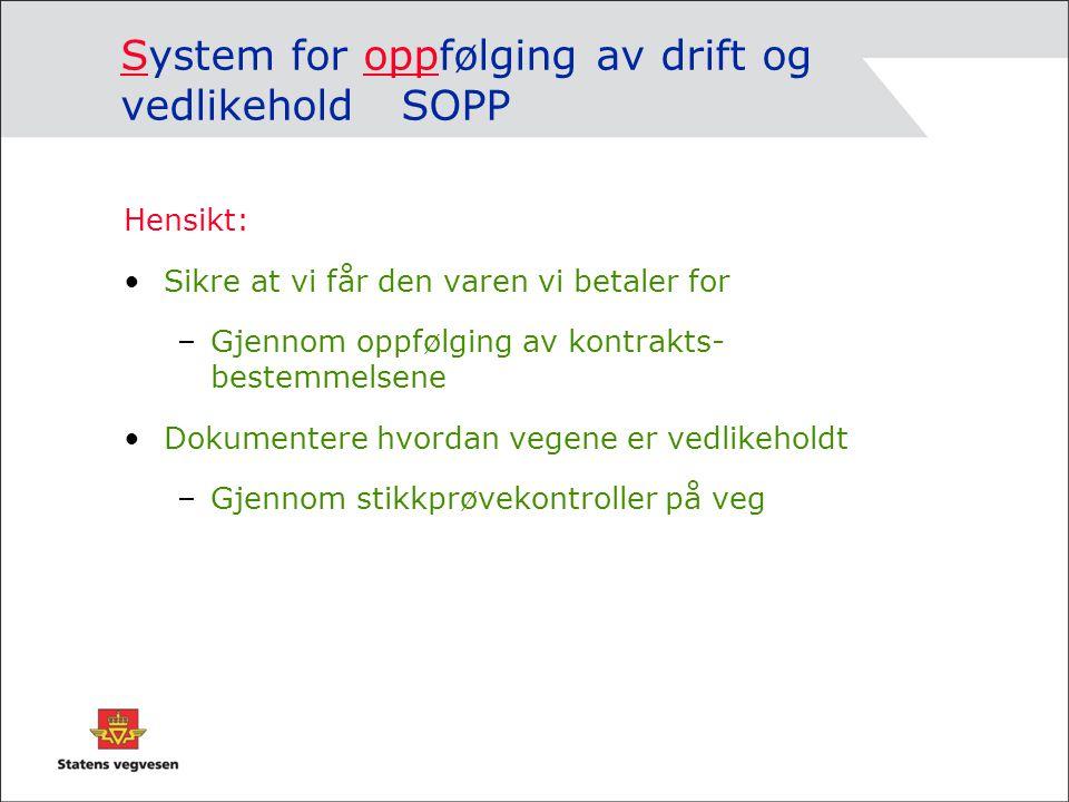 System for oppfølging av drift og vedlikehold SOPP Hensikt: Sikre at vi får den varen vi betaler for –Gjennom oppfølging av kontrakts- bestemmelsene D