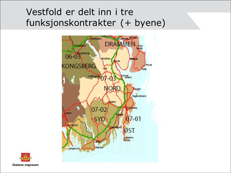 Vestfold er delt inn i tre funksjonskontrakter (+ byene)