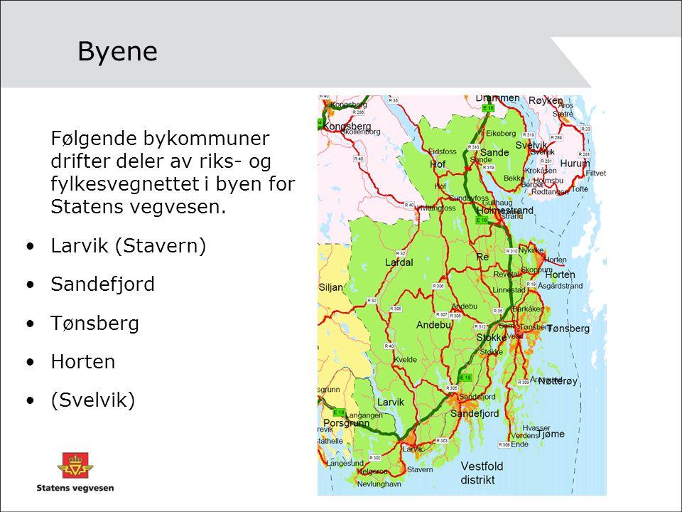 Byene Følgende bykommuner drifter deler av riks- og fylkesvegnettet i byen for Statens vegvesen. Larvik (Stavern) Sandefjord Tønsberg Horten (Svelvik)