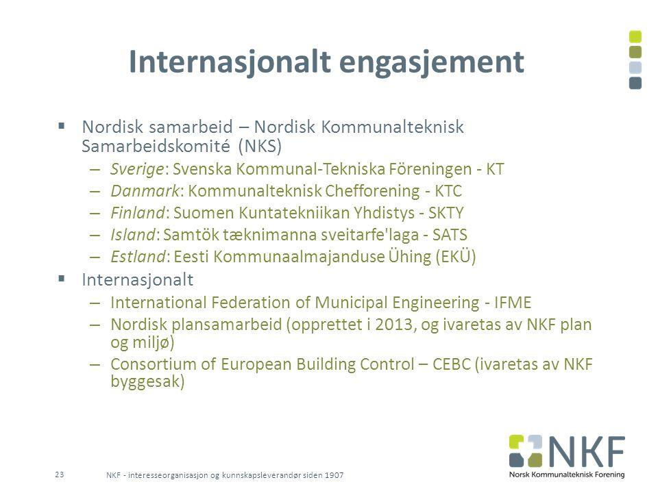 Internasjonalt engasjement  Nordisk samarbeid – Nordisk Kommunalteknisk Samarbeidskomité (NKS) – Sverige: Svenska Kommunal-Tekniska Föreningen - KT –