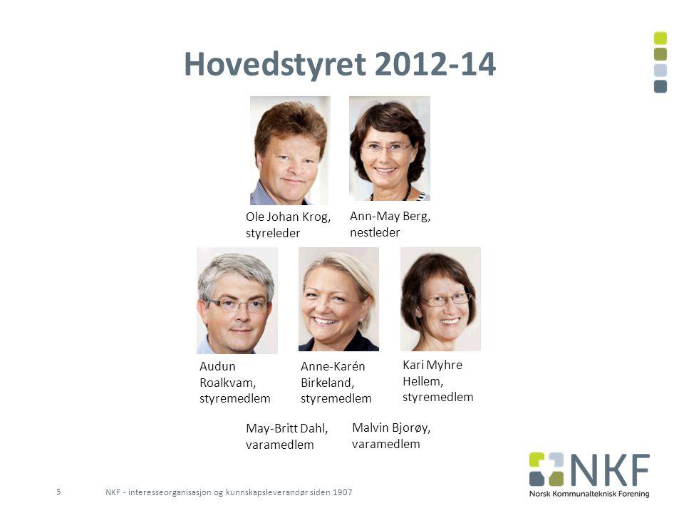 Hovedstyret 2012-14 NKF - interesseorganisasjon og kunnskapsleverandør siden 1907 5 Ole Johan Krog, styreleder Ann-May Berg, nestleder Audun Roalkvam,