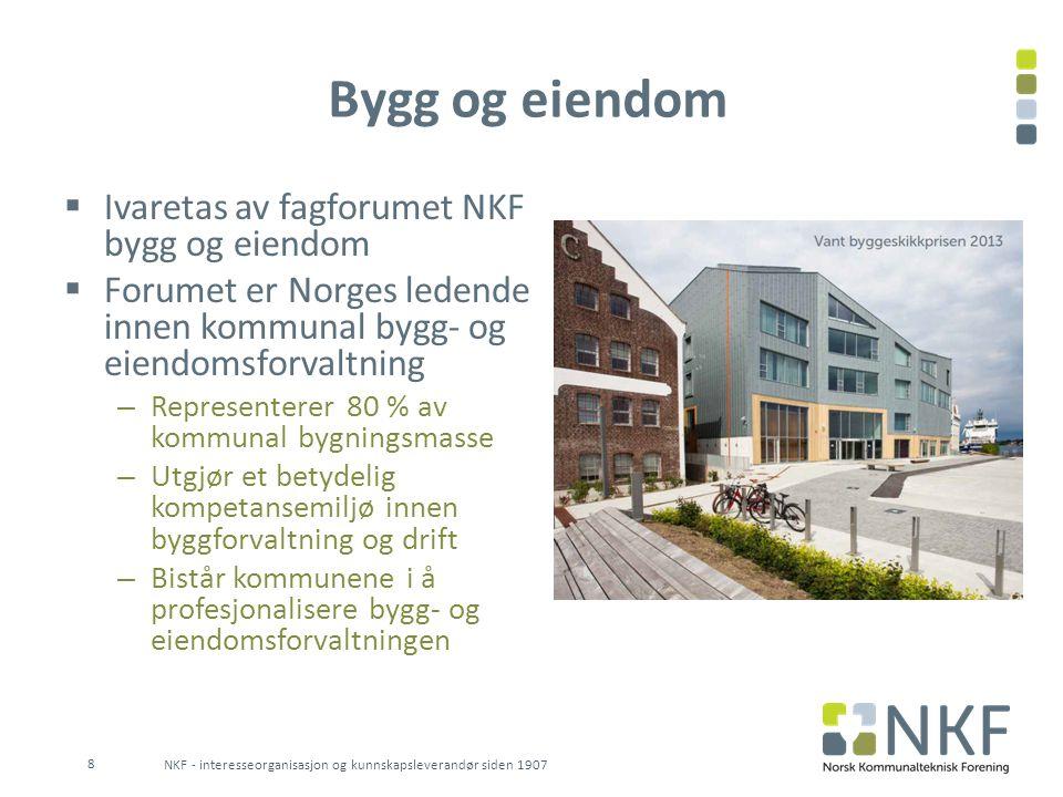 Bygg og eiendom  Ivaretas av fagforumet NKF bygg og eiendom  Forumet er Norges ledende innen kommunal bygg- og eiendomsforvaltning – Representerer 8
