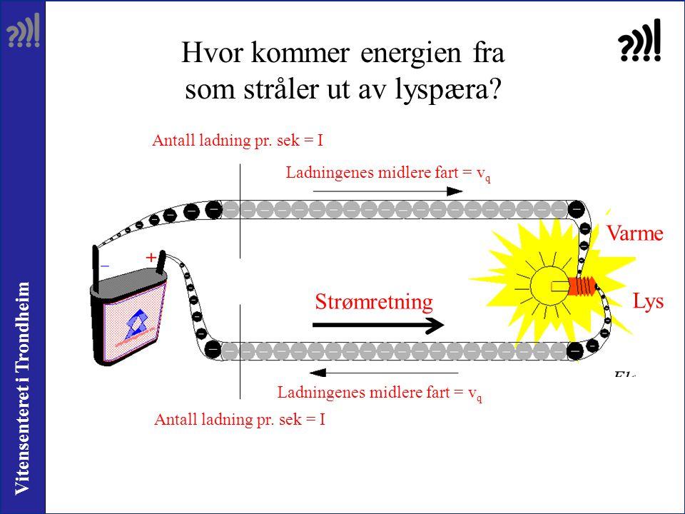 Vitensenteret i Trondheim Antall ladning pr. sek = I Ladningenes midlere fart = v q Antall ladning pr. sek = I Ladningenes midlere fart = v q Hvor kom