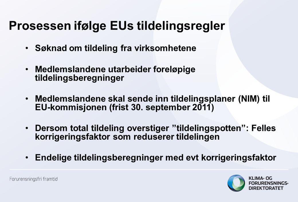 Tildelingsprosessen i Norge (1) Tilnærmet samme prosess, men litt spesiell pga EØS-avtalen: –Norges tildelingsplan/NIM skal oversendes til ESA Stramt tidsskjema: Søknadsrunde i 2011 – før regelverket er på plass i norsk rett –Norge og EU-kommisjonen ønsker at Norge følger et tidsskjema som ligger tett opp til tidsskjemaet i EU –Søknadsfrist 15.
