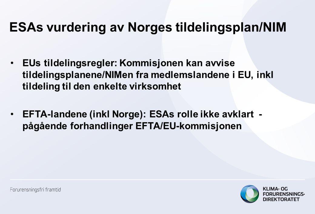 ESAs vurdering av Norges tildelingsplan/NIM EUs tildelingsregler: Kommisjonen kan avvise tildelingsplanene/NIMen fra medlemslandene i EU, inkl tildeling til den enkelte virksomhet EFTA-landene (inkl Norge): ESAs rolle ikke avklart - pågående forhandlinger EFTA/EU-kommisjonen