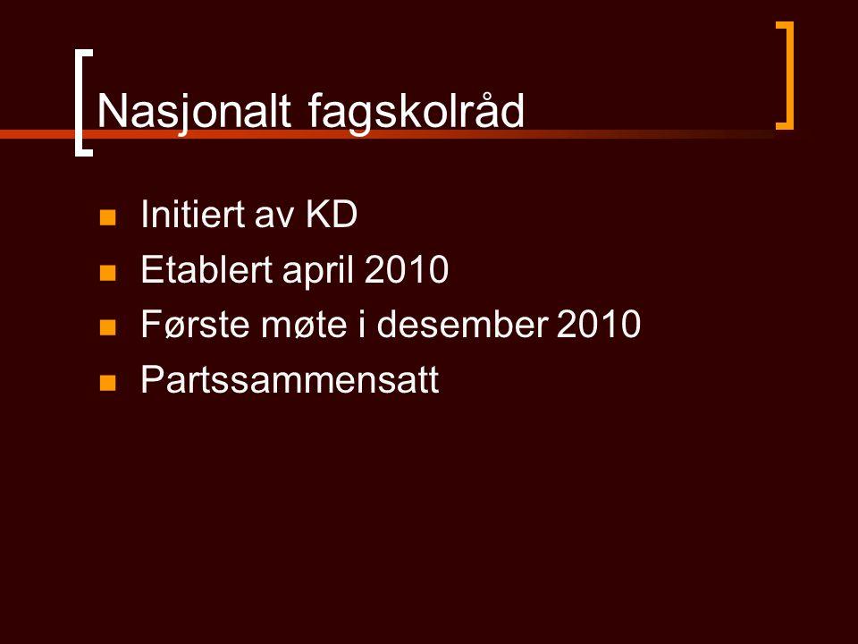 Nasjonalt fagskolråd Initiert av KD Etablert april 2010 Første møte i desember 2010 Partssammensatt