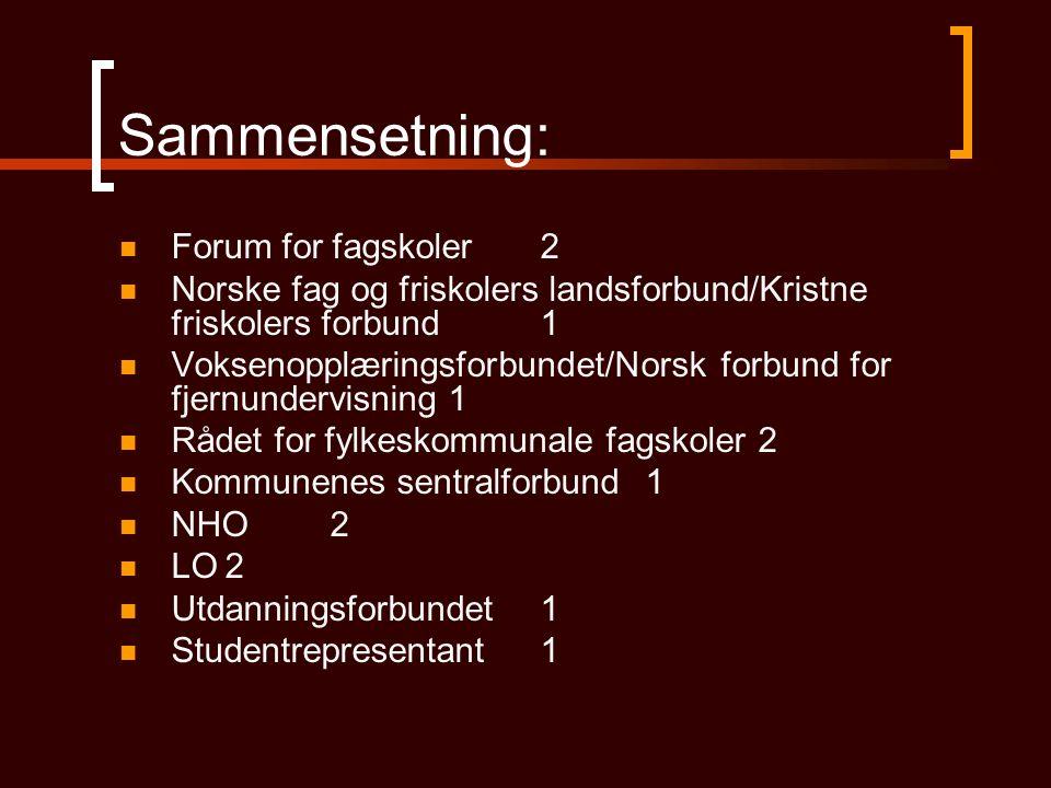 Sammensetning: Forum for fagskoler 2 Norske fag og friskolers landsforbund/Kristne friskolers forbund1 Voksenopplæringsforbundet/Norsk forbund for fje