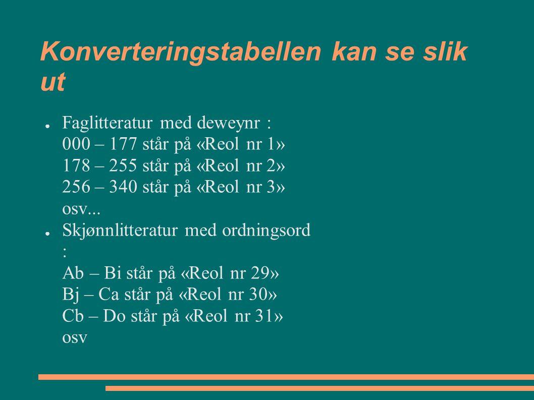 Konverteringstabellen kan se slik ut ● Faglitteratur med deweynr : 000 – 177 står på «Reol nr 1» 178 – 255 står på «Reol nr 2» 256 – 340 står på «Reol