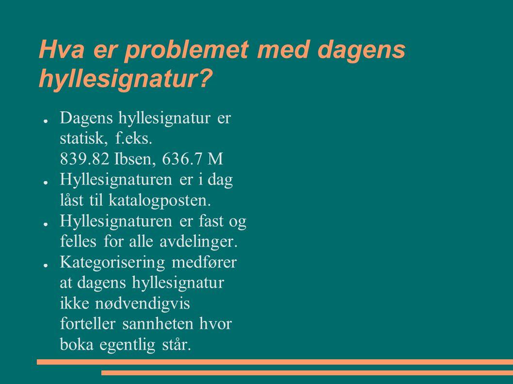 Hva er problemet med dagens hyllesignatur? ● Dagens hyllesignatur er statisk, f.eks. 839.82 Ibsen, 636.7 M ● Hyllesignaturen er i dag låst til katalog