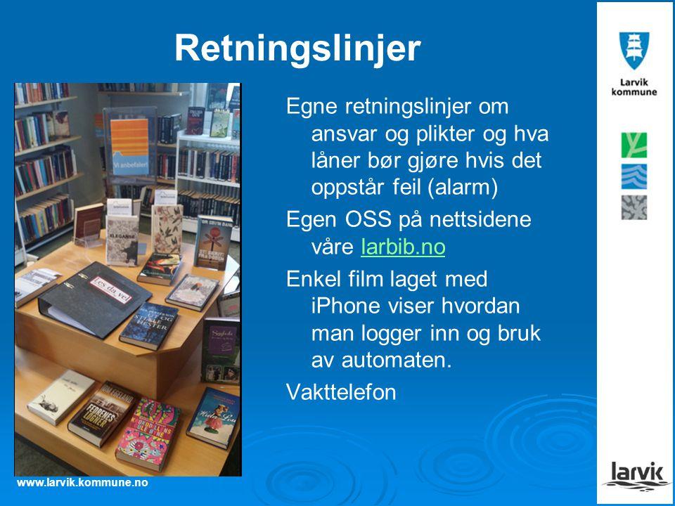 www.larvik.kommune.no Retningslinjer Egne retningslinjer om ansvar og plikter og hva låner bør gjøre hvis det oppstår feil (alarm) Egen OSS på nettsidene våre larbib.nolarbib.no Enkel film laget med iPhone viser hvordan man logger inn og bruk av automaten.