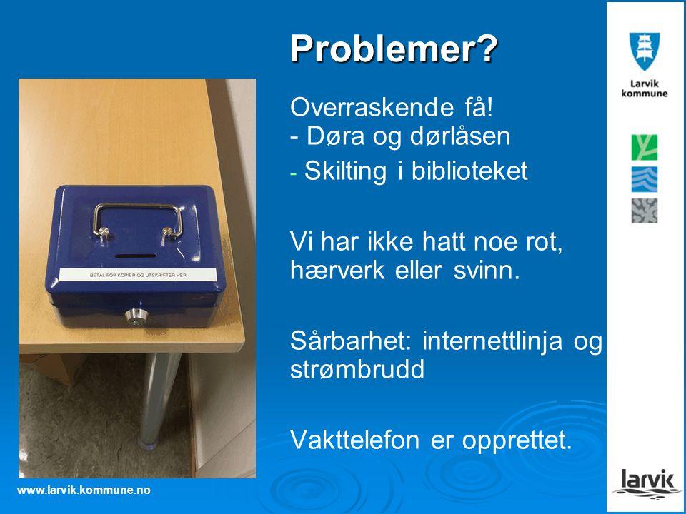 www.larvik.kommune.no Problemer? Overraskende få! - Døra og dørlåsen - - Skilting i biblioteket Vi har ikke hatt noe rot, hærverk eller svinn. Sårbarh