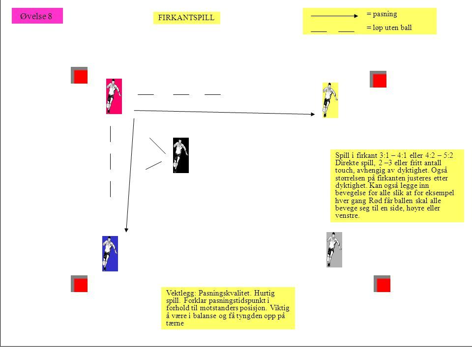 Spill i firkant 3:1 – 4:1 eller 4:2 – 5:2 Direkte spill, 2 –3 eller fritt antall touch, avhengig av dyktighet. Også størrelsen på firkanten justeres e