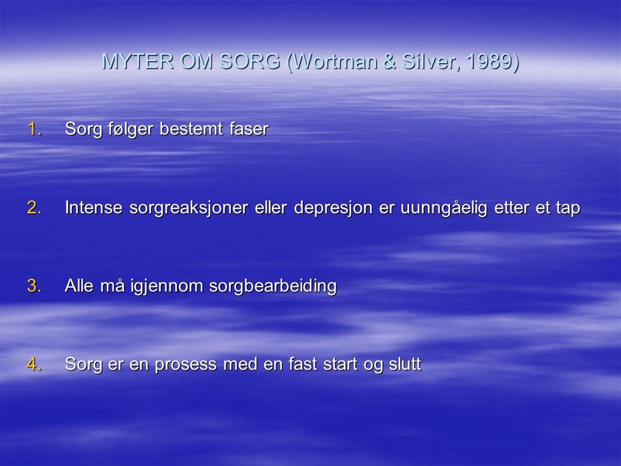 MYTER OM SORG (Wortman & Silver, 1989) 1.Sorg følger bestemt faser 2.Intense sorgreaksjoner eller depresjon er uunngåelig etter et tap 3.Alle må igjen