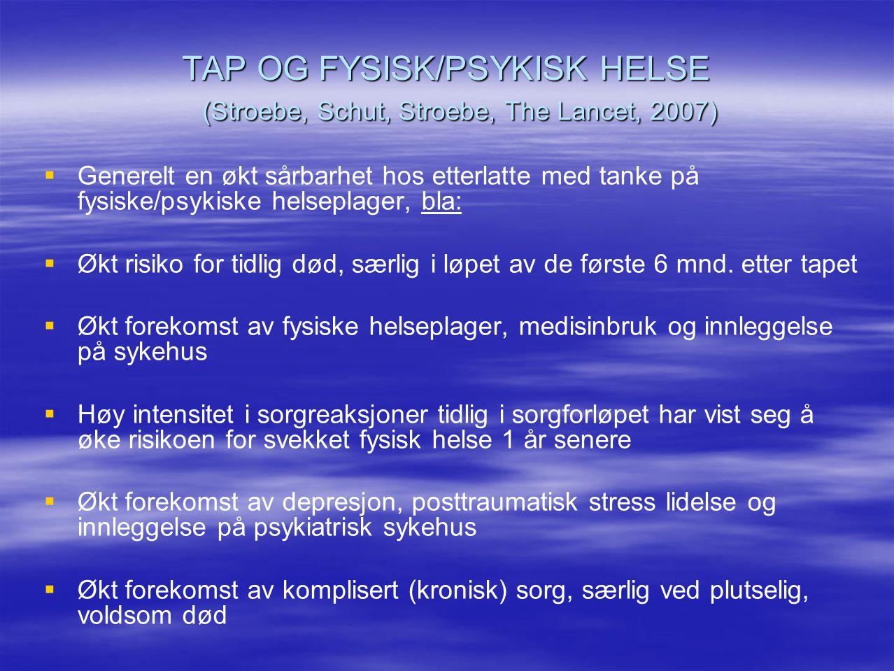 TAP OG FYSISK/PSYKISK HELSE (Stroebe, Schut, Stroebe, The Lancet, 2007)   Generelt en økt sårbarhet hos etterlatte med tanke på fysiske/psykiske hel