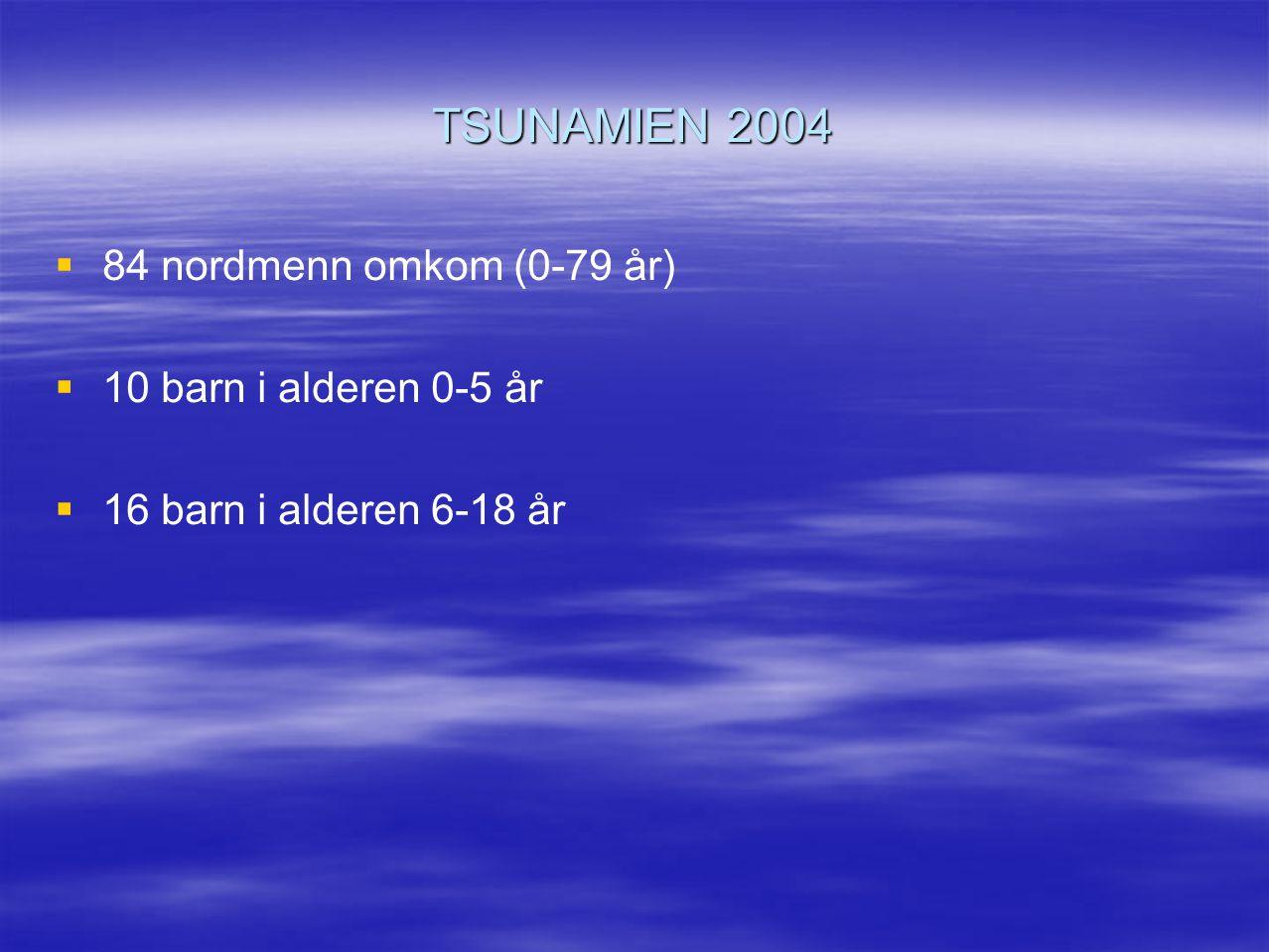TSUNAMIEN 2004   84 nordmenn omkom (0-79 år)   10 barn i alderen 0-5 år   16 barn i alderen 6-18 år