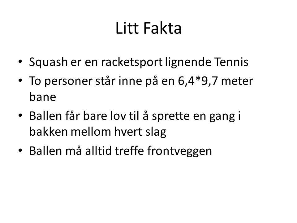 Litt Fakta Squash er en racketsport lignende Tennis To personer står inne på en 6,4*9,7 meter bane Ballen får bare lov til å sprette en gang i bakken