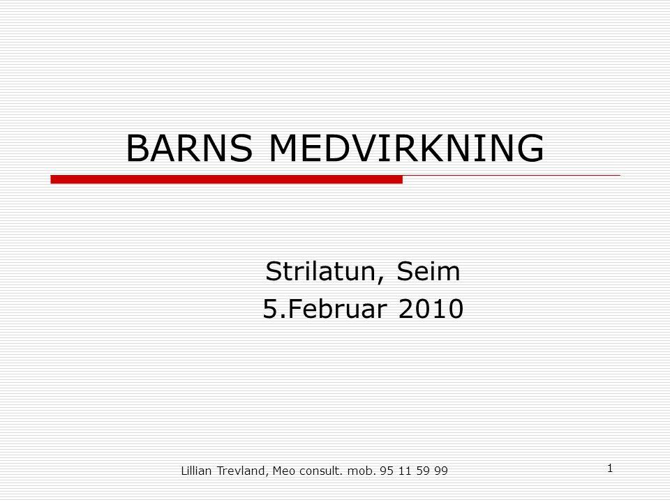 1 BARNS MEDVIRKNING Strilatun, Seim 5.Februar 2010 Lillian Trevland, Meo consult. mob. 95 11 59 99