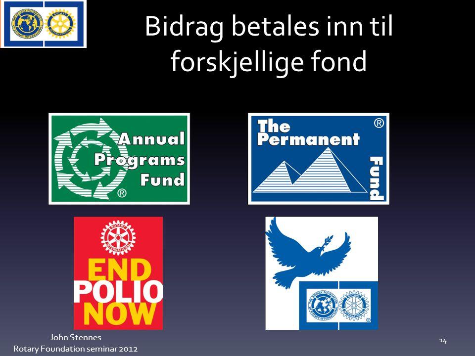 Bidrag betales inn til forskjellige fond John Stennes Rotary Foundation seminar 2012 14
