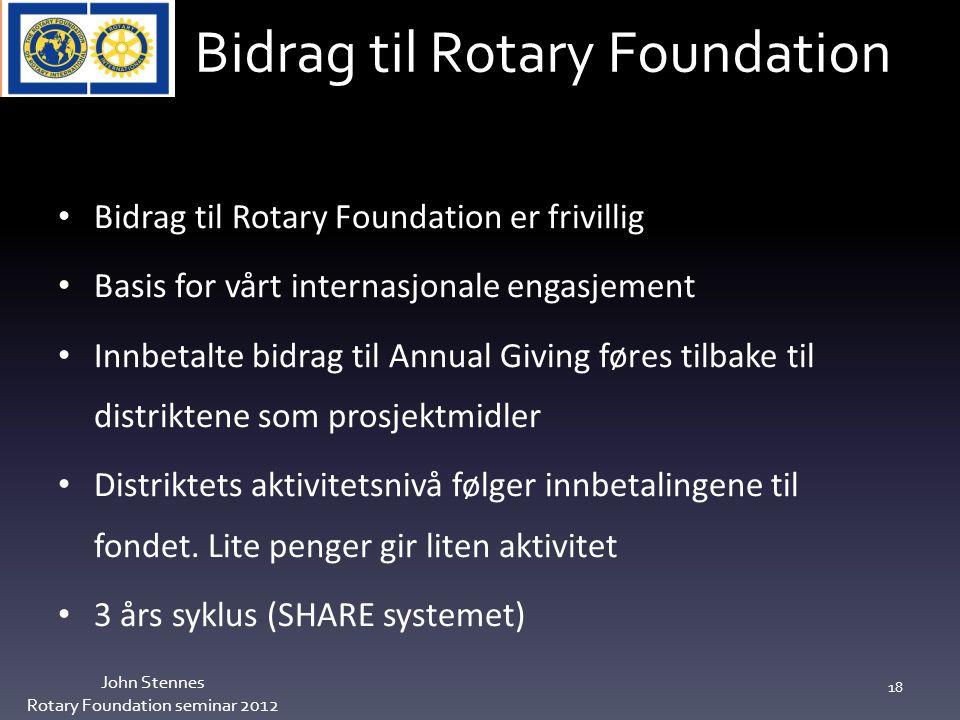 Bidrag til Rotary Foundation John Stennes Rotary Foundation seminar 2012 18 Bidrag til Rotary Foundation er frivillig Basis for vårt internasjonale engasjement Innbetalte bidrag til Annual Giving føres tilbake til distriktene som prosjektmidler Distriktets aktivitetsnivå følger innbetalingene til fondet.
