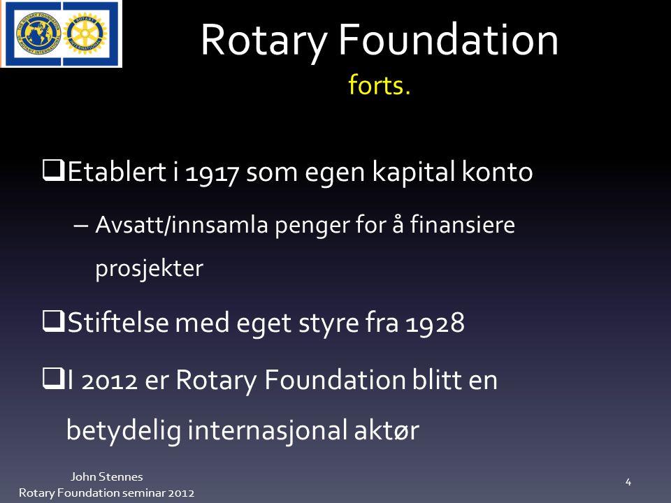 Utviklingen i USD John Stennes Rotary Foundation seminar 2012 25 Fra 60.000 til 42.000 USD på 3 år til Annual Program Fund Fra 13.000 til 4.000 USD på 3 år til Polio Ikke ønsket utvikling for vårt distrikt.