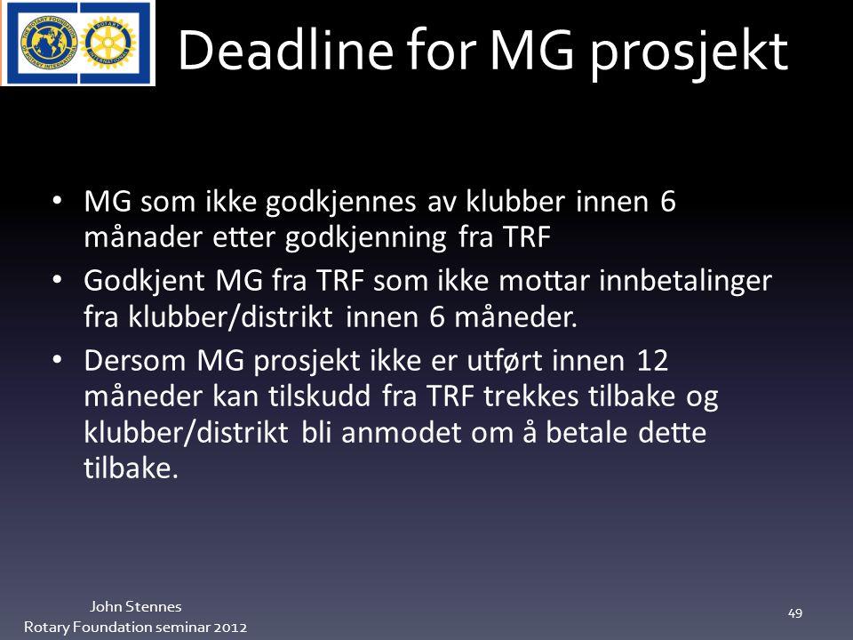 Deadline for MG prosjekt John Stennes Rotary Foundation seminar 2012 49 MG som ikke godkjennes av klubber innen 6 månader etter godkjenning fra TRF Godkjent MG fra TRF som ikke mottar innbetalinger fra klubber/distrikt innen 6 måneder.