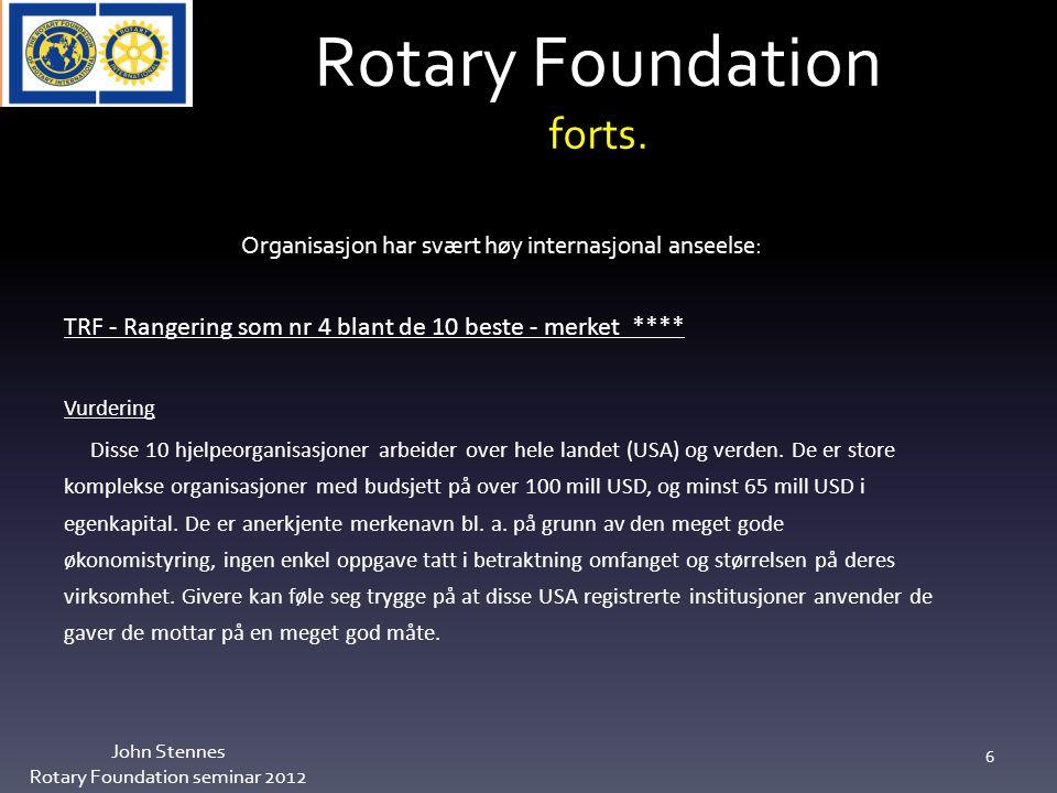 Topp 5 klubber innbetaling pr medlem John Stennes Rotary Foundation seminar 2012 27 Brumunddal RKUSD 92,97 Midsund RK 89,64 Stranda RK 64,92 Hadeland Syd RK 60,75 Raufoss RK 59,64