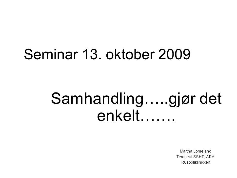 Seminar 13.oktober 2009 Samhandling…..gjør det enkelt…….