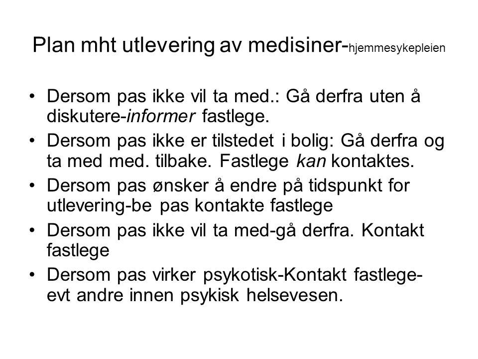 Plan mht utlevering av medisiner- hjemmesykepleien Dersom pas ikke vil ta med.: Gå derfra uten å diskutere-informer fastlege.