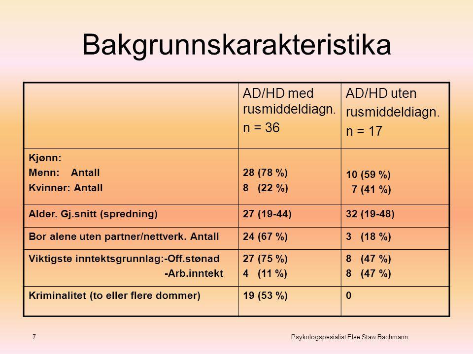 Bakgrunnskarakteristika 7 Psykologspesialist Else Staw Bachmann AD/HD med rusmiddeldiagn. n = 36 AD/HD uten rusmiddeldiagn. n = 17 Kjønn: Menn: Antall