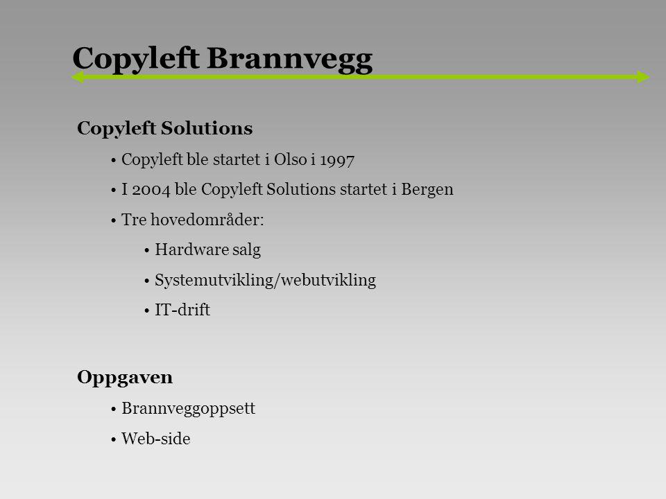 Copyleft Solutions Copyleft ble startet i Olso i 1997 I 2004 ble Copyleft Solutions startet i Bergen Tre hovedområder: Hardware salg Systemutvikling/webutvikling IT-drift Oppgaven Brannveggoppsett Web-side Copyleft Brannvegg