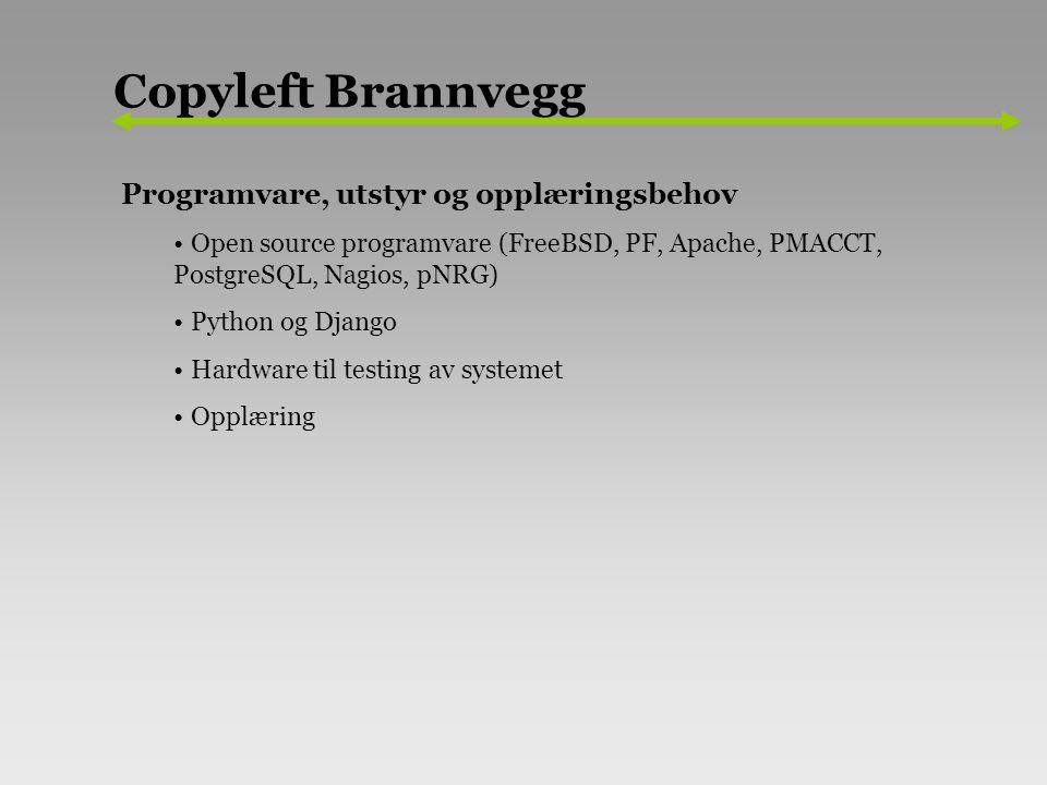 Programvare, utstyr og opplæringsbehov Open source programvare (FreeBSD, PF, Apache, PMACCT, PostgreSQL, Nagios, pNRG) Python og Django Hardware til testing av systemet Opplæring