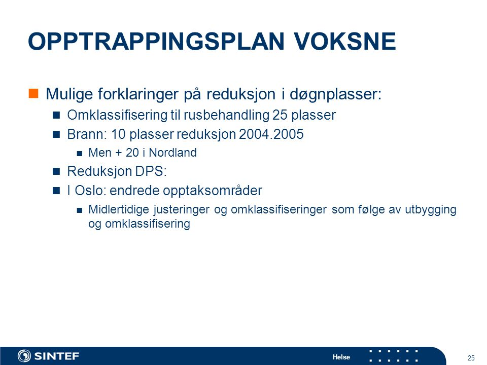 Helse 25 OPPTRAPPINGSPLAN VOKSNE Mulige forklaringer på reduksjon i døgnplasser: Omklassifisering til rusbehandling 25 plasser Brann: 10 plasser reduksjon 2004.2005 Men + 20 i Nordland Reduksjon DPS: I Oslo: endrede opptaksområder Midlertidige justeringer og omklassifiseringer som følge av utbygging og omklassifisering