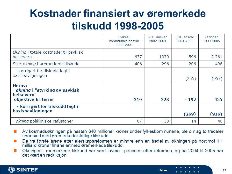 Helse 37 Kostnader finansiert av øremerkede tilskudd 1998-2005 Av kostnadsøkningen på nesten 640 millioner kroner under fylkeskommunene, ble omlag to tredeler finansiert med øremerkede statlige tilskudd.