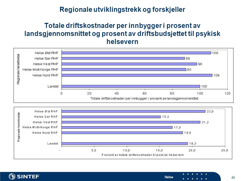 Helse 46 Regionale utviklingstrekk og forskjeller Totale driftskostnader per innbygger i prosent av landsgjennomsnittet og prosent av driftsbudsjettet til psykisk helsevern