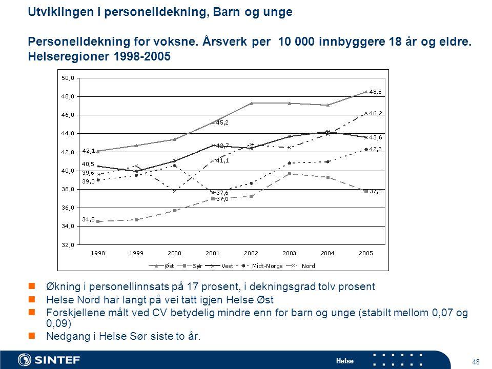 Helse 48 Utviklingen i personelldekning, Barn og unge Personelldekning for voksne.