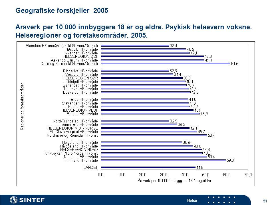 Helse 51 Geografiske forskjeller 2005 Årsverk per 10 000 innbyggere 18 år og eldre.