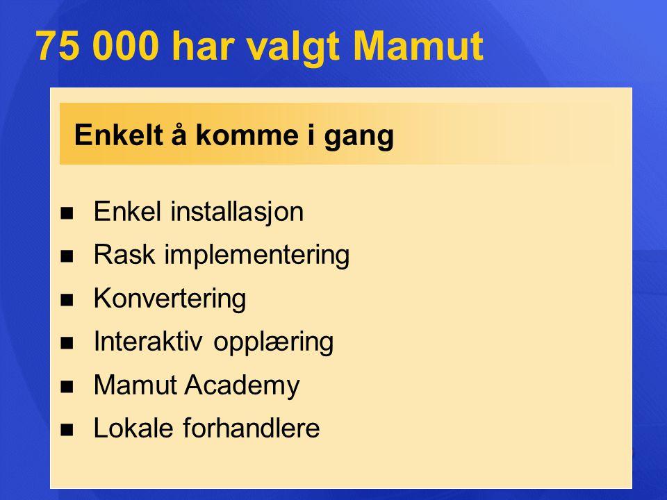 Enkelt å komme i gang 75 000 har valgt Mamut Enkel installasjon Rask implementering Konvertering Interaktiv opplæring Mamut Academy Lokale forhandlere