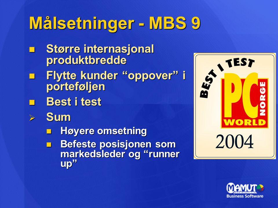 """Målsetninger - MBS 9 Større internasjonal produktbredde Større internasjonal produktbredde Flytte kunder """"oppover"""" i porteføljen Flytte kunder """"oppove"""