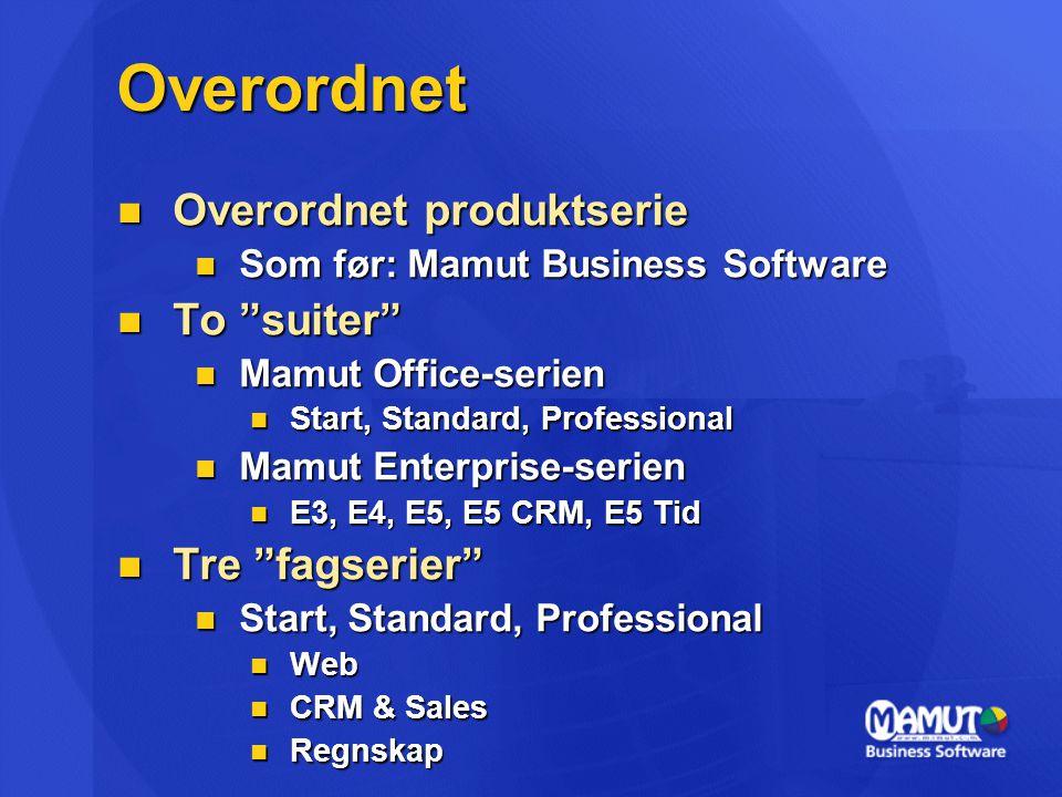 """Overordnet Overordnet produktserie Overordnet produktserie Som før: Mamut Business Software Som før: Mamut Business Software To """"suiter"""" To """"suiter"""" M"""