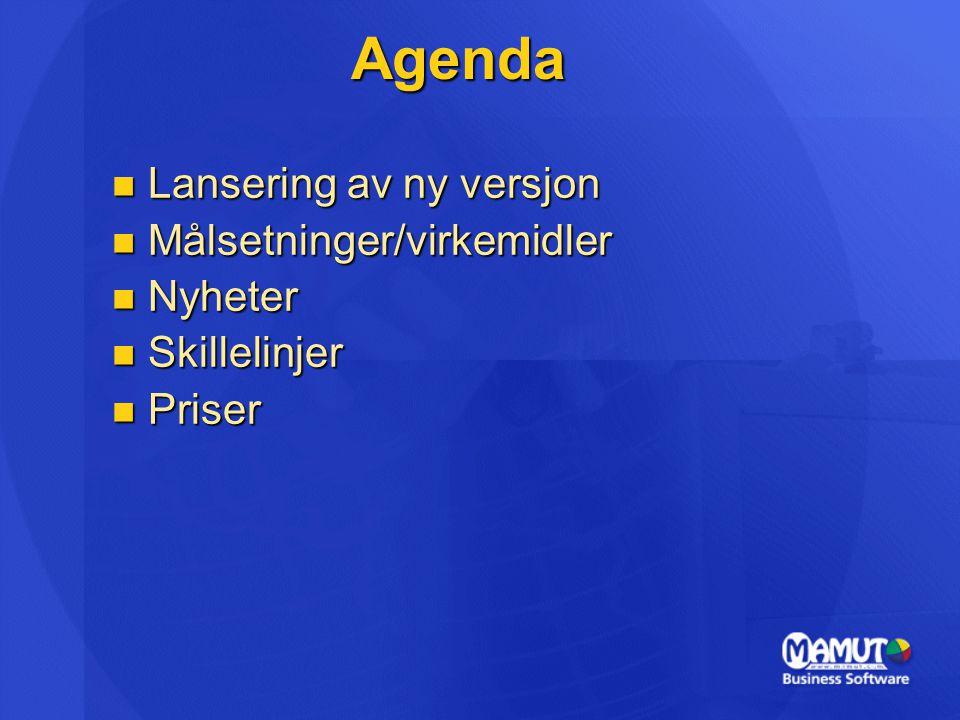 Agenda Lansering av ny versjon Lansering av ny versjon Målsetninger/virkemidler Målsetninger/virkemidler Nyheter Nyheter Skillelinjer Skillelinjer Pri