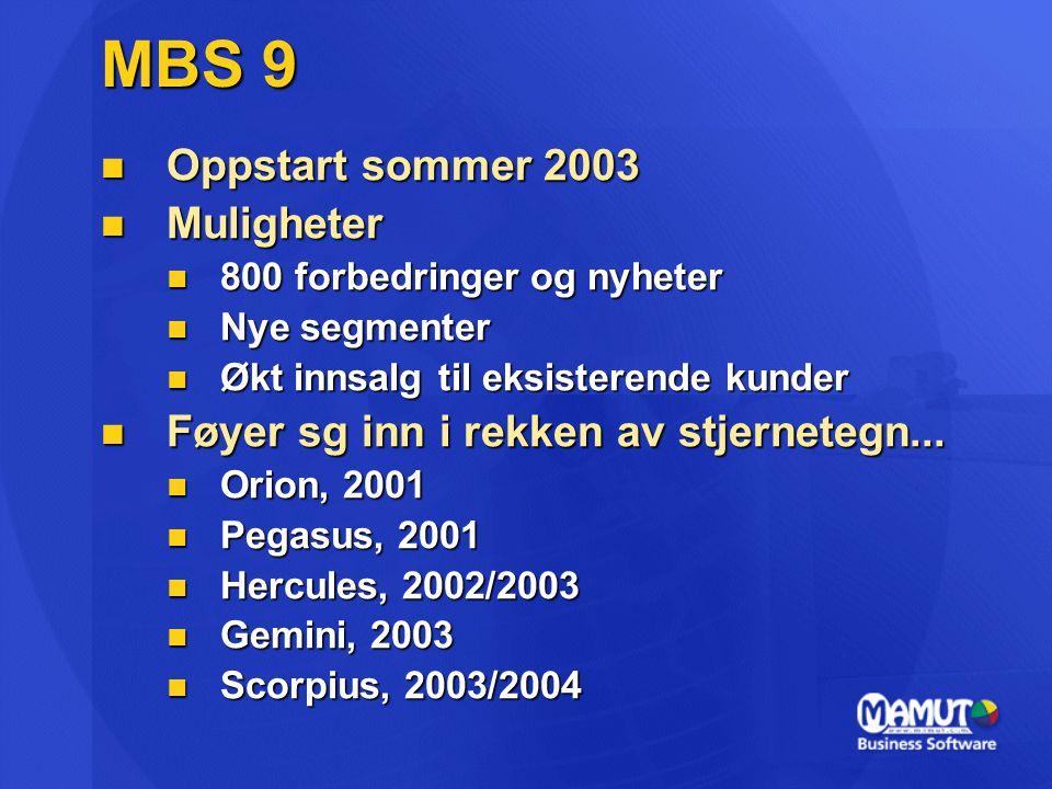 MBS 9 Oppstart sommer 2003 Oppstart sommer 2003 Muligheter Muligheter 800 forbedringer og nyheter 800 forbedringer og nyheter Nye segmenter Nye segmen