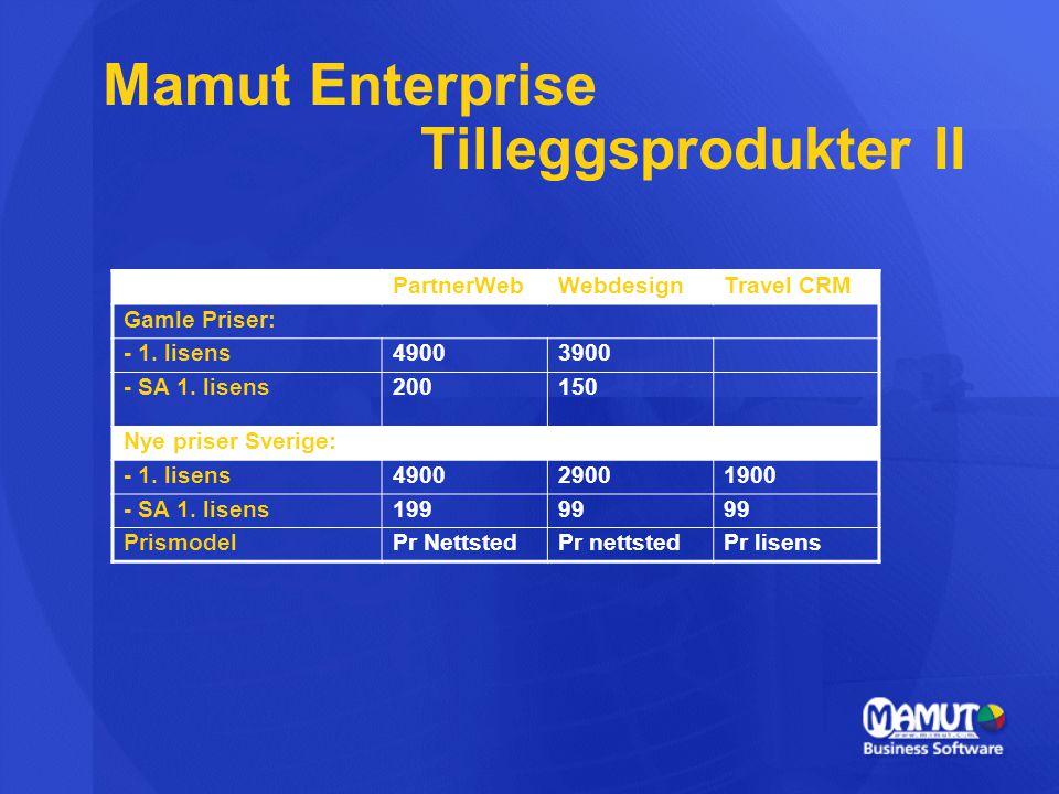 Mamut Enterprise Tilleggsprodukter II PartnerWebWebdesignTravel CRM Gamle Priser: - 1. lisens49003900 - SA 1. lisens200150 Nye priser Sverige: - 1. li
