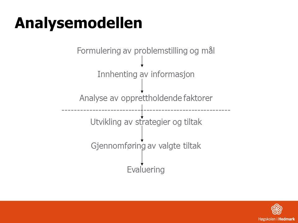 Analysemodellen Formulering av problemstilling og mål Innhenting av informasjon Analyse av opprettholdende faktorer ----------------------------------