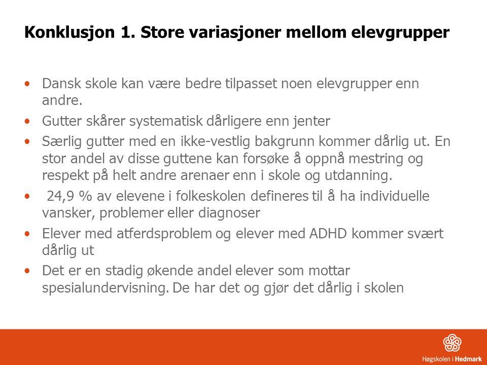 Konklusjon 1. Store variasjoner mellom elevgrupper Dansk skole kan være bedre tilpasset noen elevgrupper enn andre. Gutter skårer systematisk dårliger