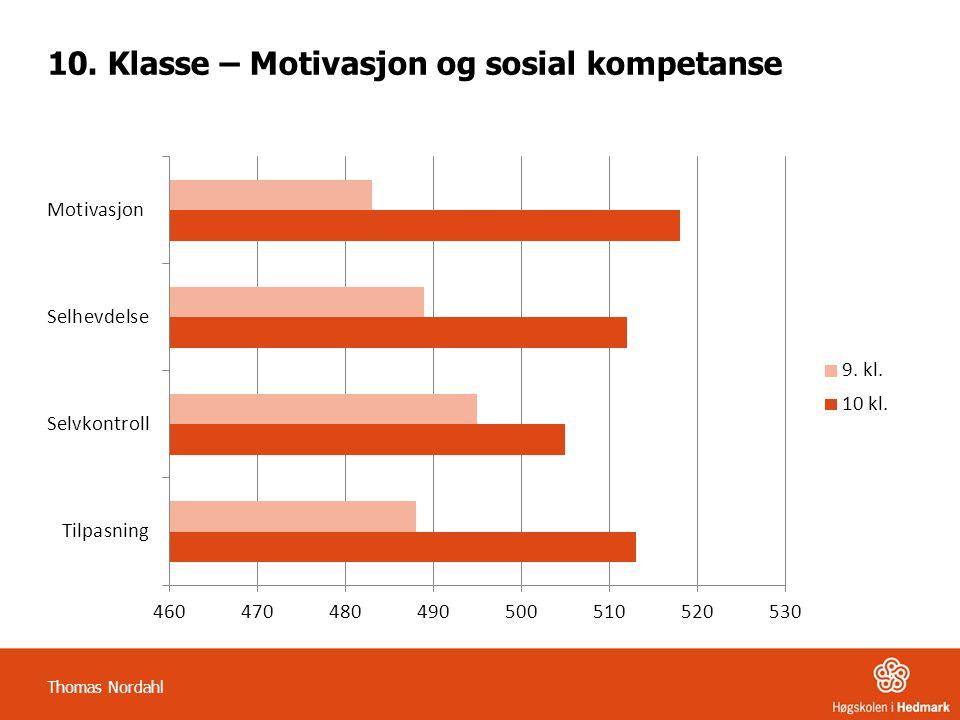 10. Klasse – Motivasjon og sosial kompetanse Thomas Nordahl